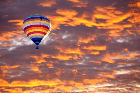 floating on water: Balloon on Sunset  sunrise with clouds, light rays and other atmospheric effect