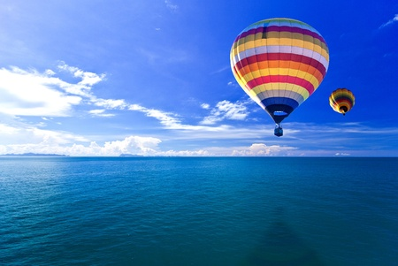 Hot air balloon on Sea and island. Samui Thailand Stock Photo