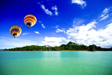 Hot air balloon on the sea Samui Thailand photo