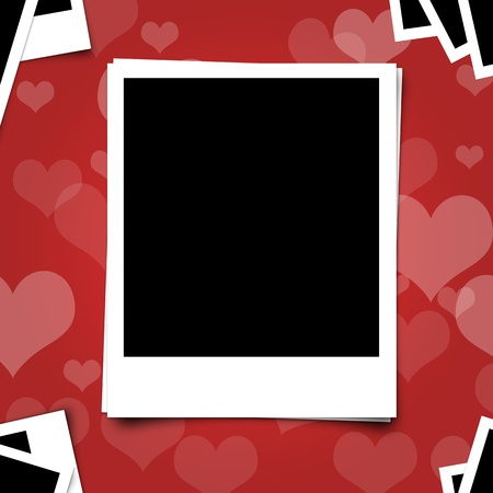 polariod frame: Polariod photo frame on heart red background