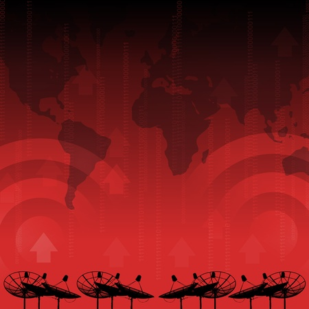 Red alert : Satellite dish transmission data on red background photo