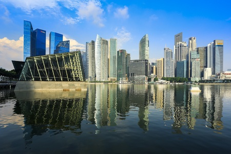 tall buildings: Singapore business buildings with reflection