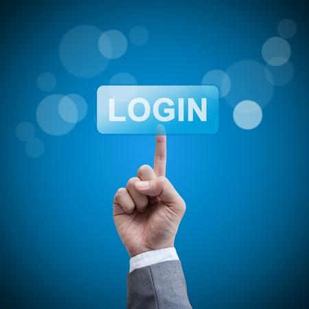 Login  hand man pressing login button Stock Photo - 21617447
