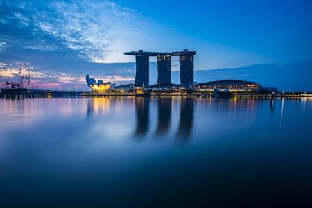 jachthaven: Marina Bay view met twilight Singapore