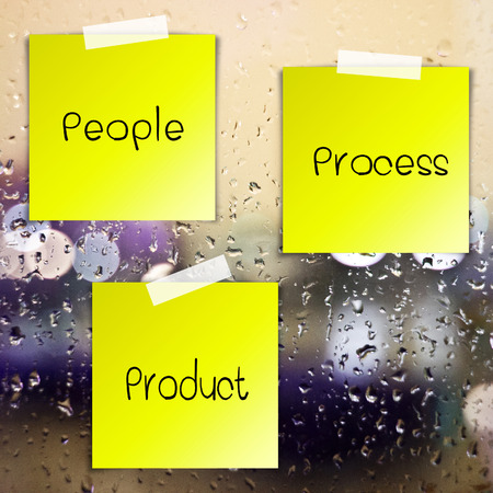 Life process sticky paper on glass with drops water background photo