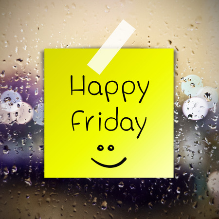 annoucement: Happy Friday with water drops background with copy space