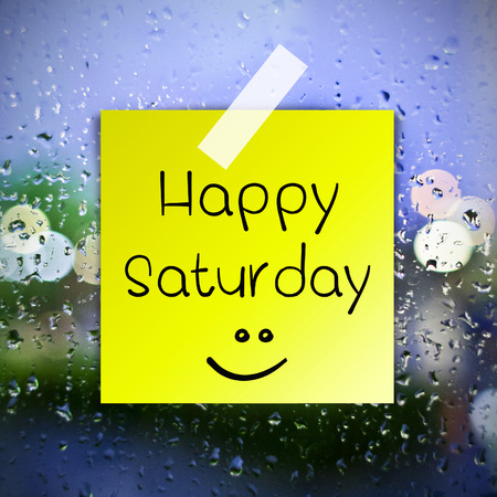 annoucement: Happy Saturday with water drops background with copy space Stock Photo