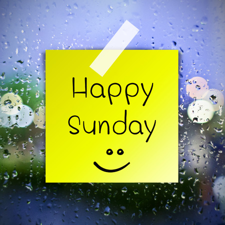 sunday: Happy Sunday with water drops background with copy space