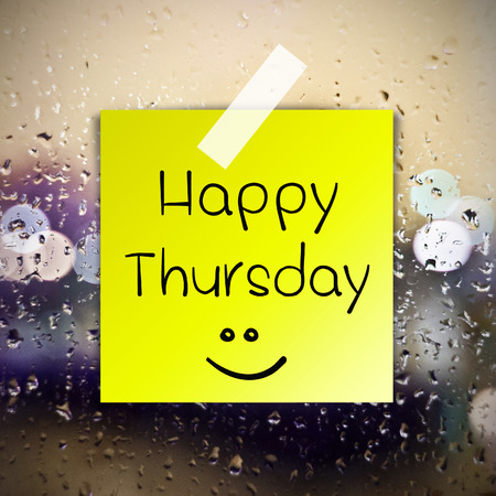 annoucement: Happy Thursday with water drops background with copy space