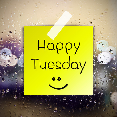 Happy Tuesday with water drops background with copy space Stock Photo
