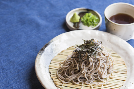 buckwheat noodle: Japanese Noodles Soba Stock Photo