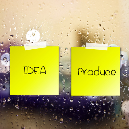 Rich idea process sticky paper on glass with drops water background photo