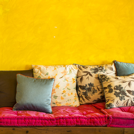 interior bedroom: Vintage retro living room with pillows Stock Photo