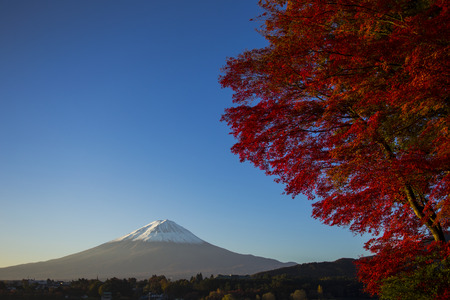 Mount Fuji with red autumn leaf  Japan Stock Photo - 25632165