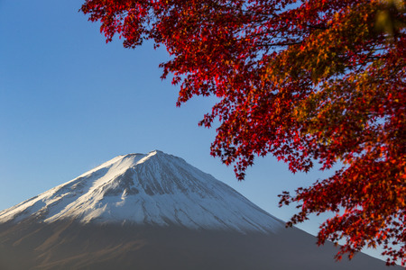 Mount Fuji with red autumn leaf  Japan Stock Photo - 25632168
