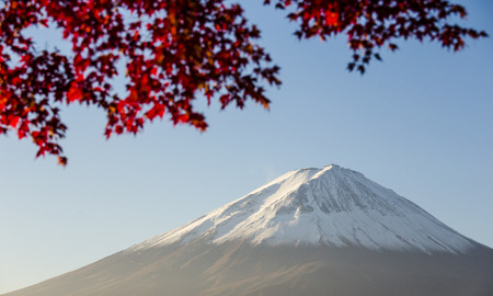 Mount Fuji with red autumn leaf  Japan Stock Photo - 25632169