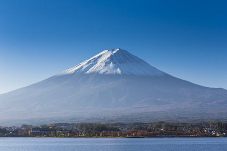 Mt  fuji with lake and city view Stock Photo - 25632183