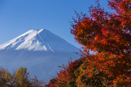 Mt  Fuji with red autumn  Kawaguchi-ko  Japan Stock Photo - 25632192