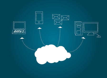 Cloud computing concept on blue background. Vector