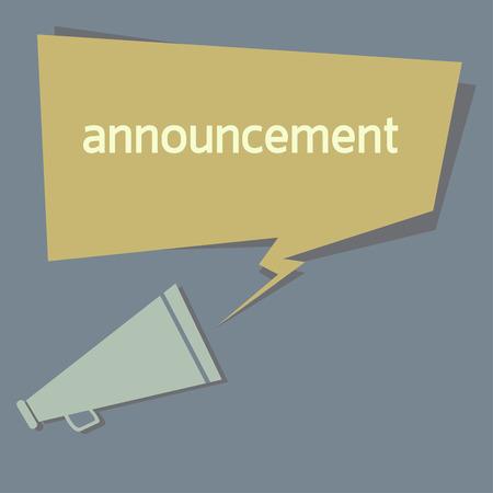 announcement message: announcement quote.  Illustration