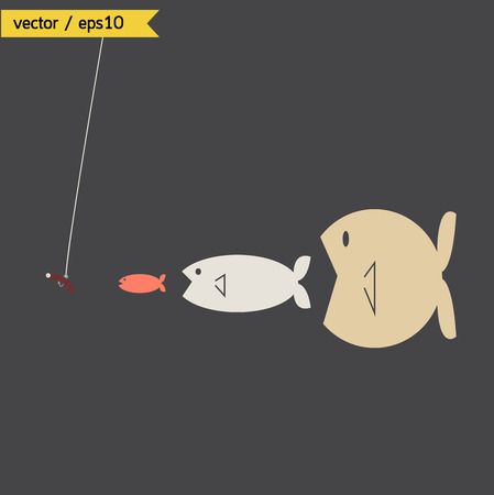 Big fish conceptual. vector. eps10 Vector