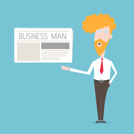 Business Man show newspaper concept Vector