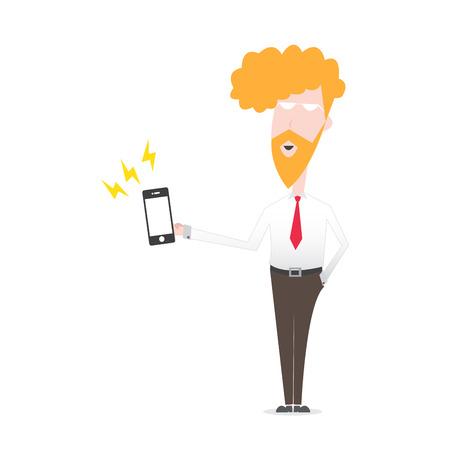 camicia bianca: Business Man smartphone gioco camicia bianca