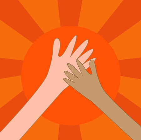 Help hand charity or hi five on the sun.  Vector