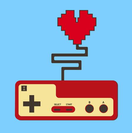 Controller pad control life heart.  Vector