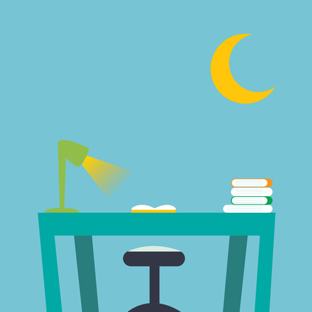 Desktop in kid bedroom with book and notebook. Vector