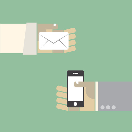 Message evolution the past old mail and next generation smartphone. vector. eps10 Vector