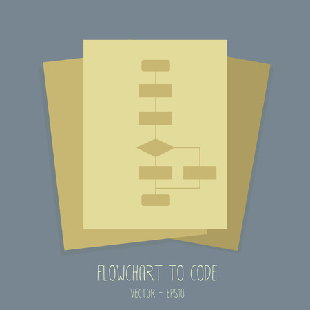 Flowchart to coding for programmer and software developer.  Vector