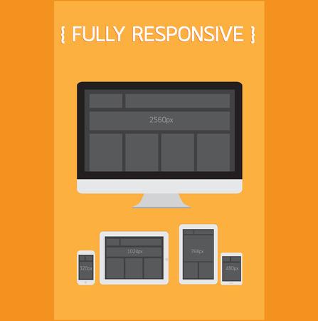 Fully Responsive Design. Stock Vector - 26241776