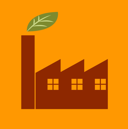 factory workers: Green factory icon Illustration