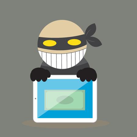 computer crime: Hacker steal money from tablet. Illustration