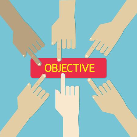 Team hand press business objective botton.