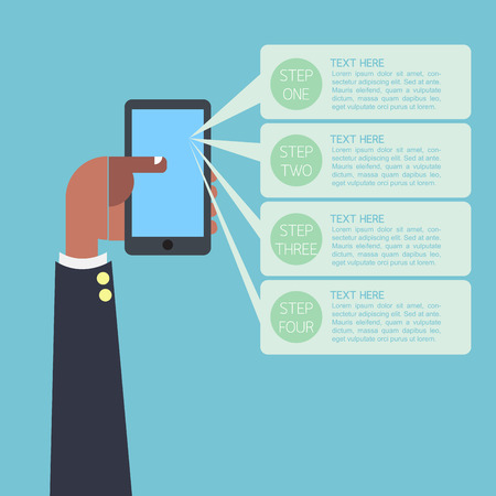Infographic business man hand on smartphone with text sample template Vector