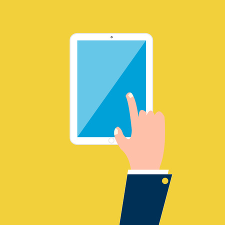 Hand on tablet mobile Vector
