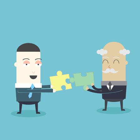 oldman: Business Jigsaw Illustration