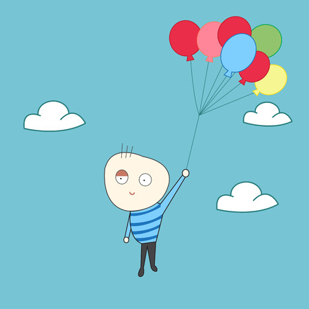 Happy kid fly with balloons Vector