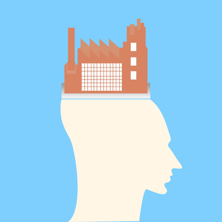 Rey de la fábrica en la cabeza humana