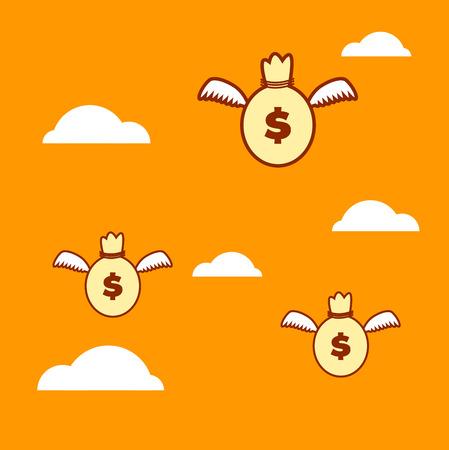 flying money: Money flying Illustration