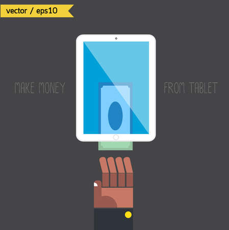 Make money from tablet.  Vector