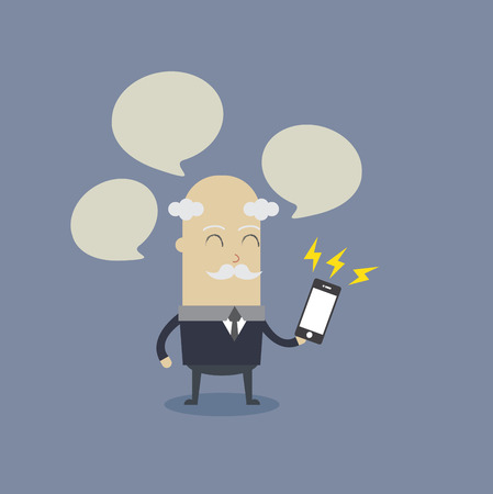 Old man play smartphone Vector