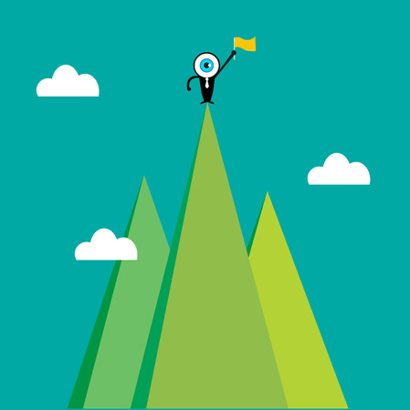 The blue eye leader on the top of mountain Vector