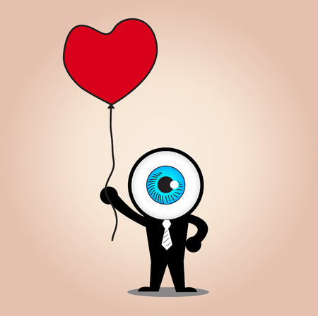 ojo azul: El azul espera ojo globo rojo del coraz�n