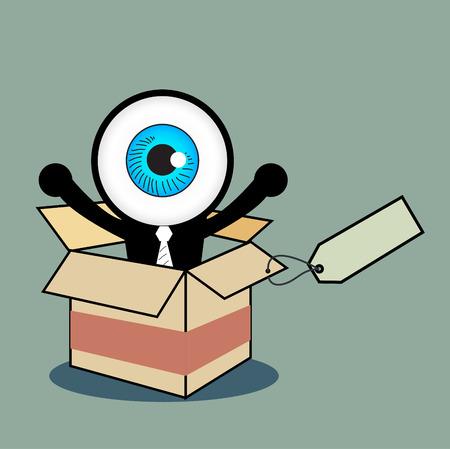 ojo azul: El ojo azul feliz en caja de regalo Vectores