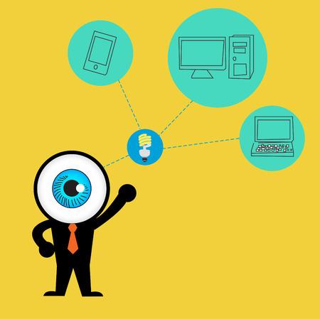 The blue eye get idea to cloud concept computing Vector