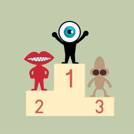 and the third: The blue eye leader on first podium Illustration