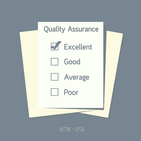 Quality assurance control checkbox on paper.  Vector